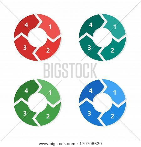Vector circle arrows set for infographic. Template for diagram, graph, presentation and chart.