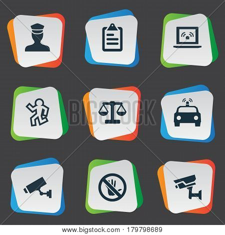 Vector Illustration Set Of Simple Police Icons. Elements Touch Forbidden, Dead Man, Sheriff And Other Synonyms Equal, Flasher And Board.