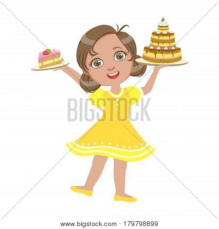 Happy girl standing with a birthday cake in her hand wearing a yellow dress, a colorful character isolated on a white background
