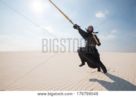 Man In Traditional Armor For Kendo, Bogu In Desert