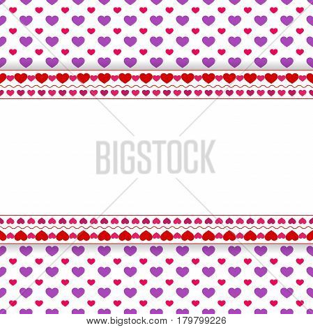 Happy Valentine's Day Greeting Card with hearts and place for text. Vector illustration.