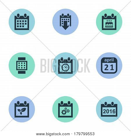 Vector Illustration Set Of Simple Date Icons. Elements Special Day, Planner, Almanac And Other Synonyms Plant, Block And Almanac.