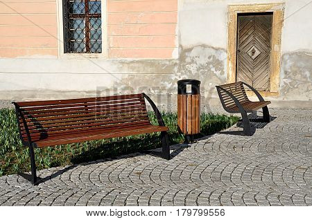 free wooden bench on an old door