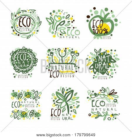 Organic, bio, farm fresh, eco, healthy food set for label design. Ecology, nature vector Illustrations for stickers, banners, cards, advertisement tags