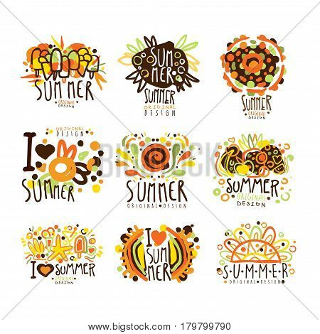 Summer set for label design. Summer travel, sea, beach, holiday, adventure vector Illustrations for stickers, banners, cards, advertisement tags