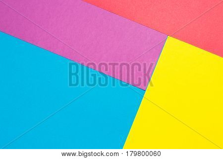 Composition with purple, blue, red and yellow sheets