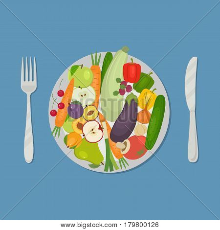 Healthy food. Plate with vegetables and fruits on a blue background. There are carrots, cucumber, tomato, eggplant, zucchini, apple, pear, cherries and other products in the picture. Vector image.