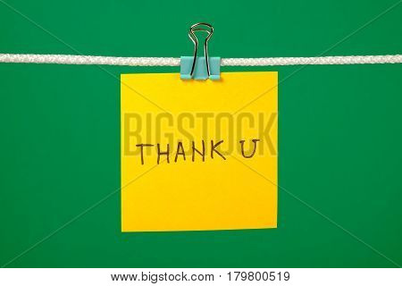 Yellow Paper Note On Clothesline With Text Thank U