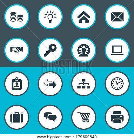 Vector Illustration Set Of Simple Commerce Icons. Elements Hard Money, Trading Purse, Printing Machine And Other Synonyms Badge, Currency And Envelope.