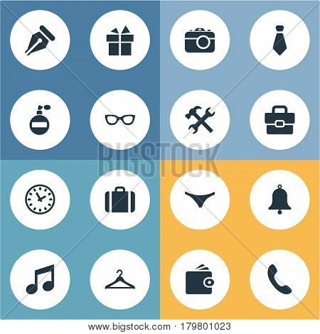 Vector Illustration Set Of Simple Instrument Icons. Elements Repair, Ring, Billfold And Other Synonyms Hook, Switchboard And Handbag.