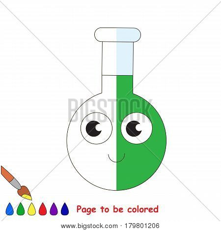 Glass Vial Tube with Green Liquid, the coloring book to educate preschool kids with easy gaming level, the kid educational game to color the colorless half by sample.