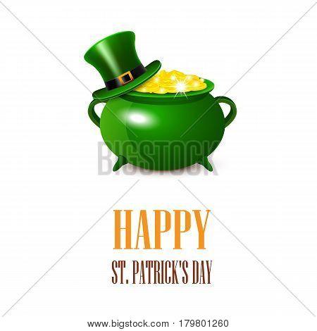 St.Patricks Day card. Vector illustration Leprechaun Gold