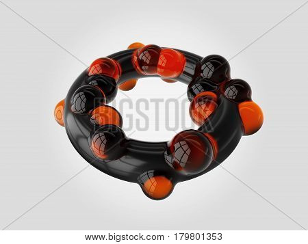 Torus. Sphere Connection Structure. 3D Illustration. Isolated White
