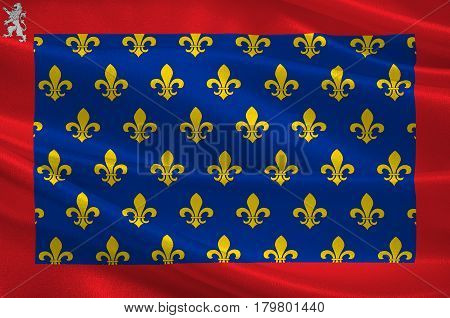 Flag of Sarthe is part of the current region of Pays de la Loire is a department in France. 3d illustration