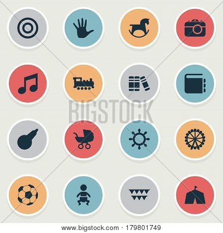 Vector Illustration Set Of Simple Child Icons. Elements Festival, Camera, Train And Other Synonyms Circus, Football And Rudder.