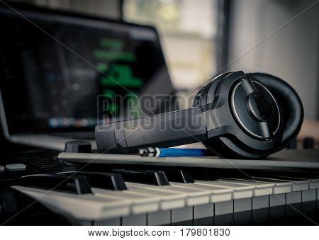 Musician prepare to compose new song in home studio