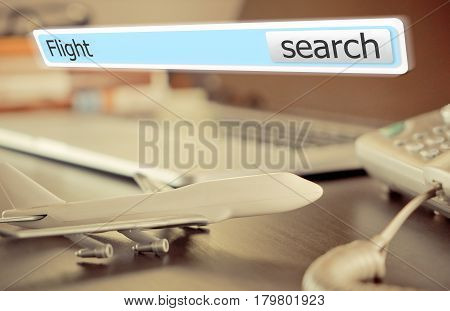 World Travel Agency with flight search button