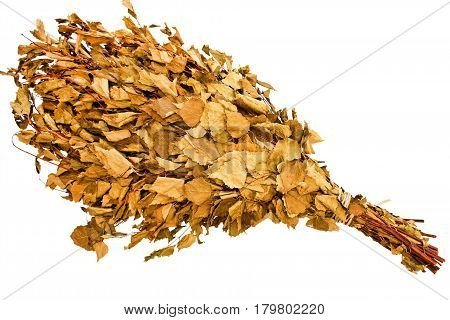 Broom for a steam bath isolated on white background