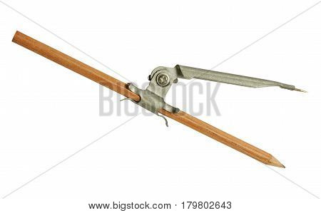 The old model of a compass with pencil isolated on white background