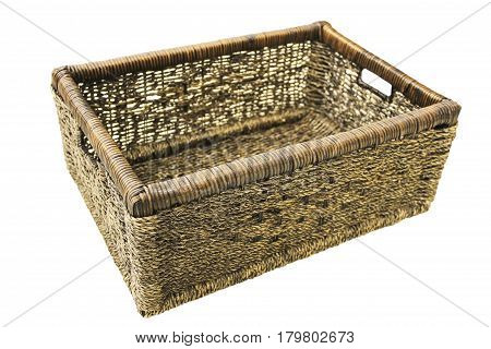 Decorative wicker box for home things isolated on white background