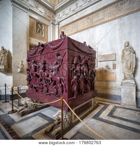 VATICAN - MAY 14, 2014: Sarcophagus of Helena (the mother of the emperor Constantine the Great) in the Museo Pio-Clementino, Vatican Museum, Rome.