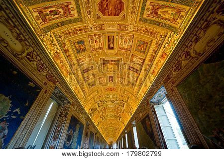 ROME - SEPTEMBER 30, 2012: The ceiling of the Geographical Maps gallery in the Vatican museum, Rome, Italy
