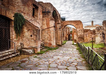 Ancient roman ruins at the Palatine Hill near the Roman Forum in Rome, Italy