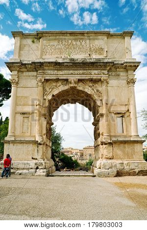 The ancient Arch of Titus, Rome, Italy