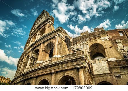 Colosseum (Coliseum) in Rome, Italy. Low angle view.