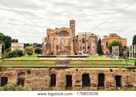 The ruins of the temple of Venus in Rome, Italy