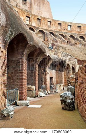 ROME, ITALY - OCTOBER 4, 2012: Inside the Colosseum in Rome.