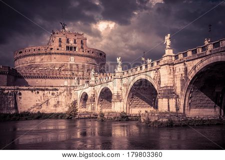 Castel Sant'Angelo (Castle of Holy Angel) and ponte Sant'Angelo (bridge of Angel) in Rome, Italy