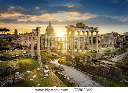 Roman Forum. Image of Roman Forum in Rome Italy during sunrise.