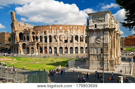 ROME - OCTOBER 4, 2012: Colosseum Arch of Constantine Rome, Italy.