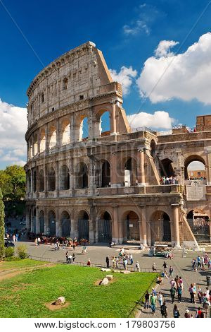 ROME, ITALY - OCTOBER 4, 2012: The famous Colosseum in Rome.
