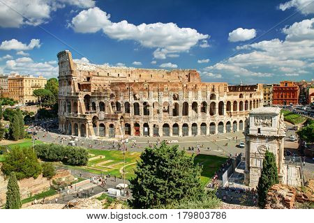 View of the Colosseum (Coliseum) in Rome, Italy