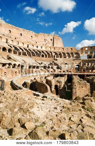 ROME - OCTOBER 10, 2012: Inside of Colosseum (Coliseum) in Rome.