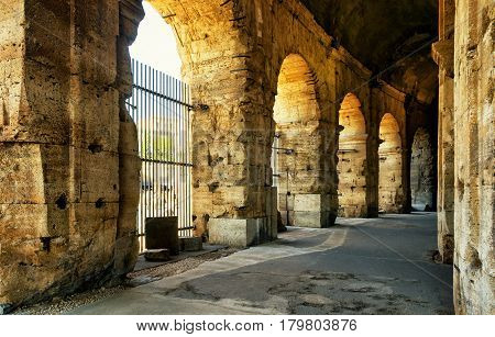 ROME, ITALY - OCTOBER 1, 2012: Inside the Colosseum (Coliseum) in Rome.