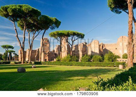 ROME, ITALY - OCTOBER 5, 2012: Baths of Caracalla, ancient roman public baths in Rome.