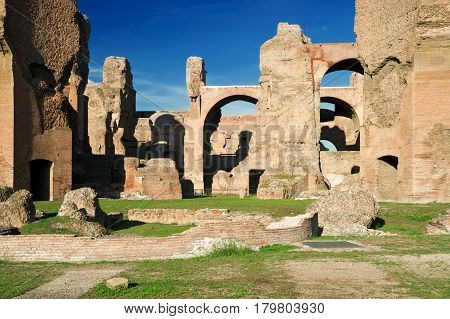 ROME, ITALY - OCTOBER 5, 2012: The ruins of the Baths of Caracalla in Rome.