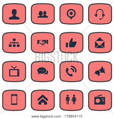Vector Illustration Set Of Simple Transmission Icons. Elements Walkie, Partnership, Headphone And Other Synonyms Telly, Friendship And Talking.