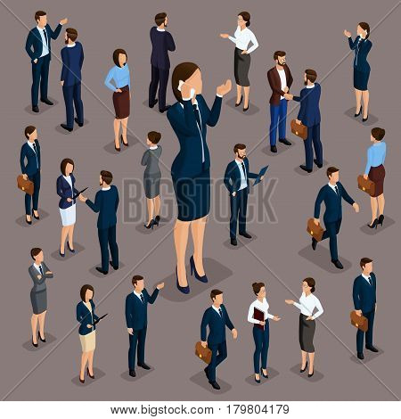 Isometric people businessmen 3D business woman. Set 5 Office staff the crowd of people under the head on a dark background.