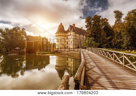 The chateau de l'Islette with wooden bridge, France. This Renaissance castle is located in the Loire Valley, was built in the 16th century and is a tourist attraction.