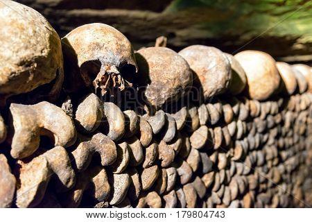 PARIS, FRANCE - SEPTEMBER 25, 2013: The famous Catacombs of Paris, France.