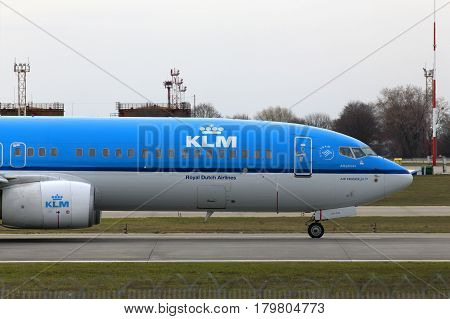 Borispol, Ukraine - March 25, 2017: KLM Royal Dutch Airlines Boeing 737-800 aircraft running on the runway of Borispol International Airport on March 25, 2017. Editorial use only
