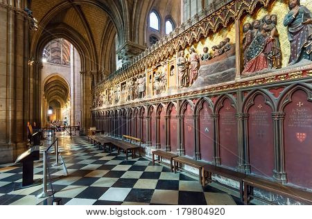 PARIS - SEPTEMBER 25, 2013: Interior of the Notre Dame de Paris. The cathedral of Notre Dame is one of the top tourist destinations in Paris.