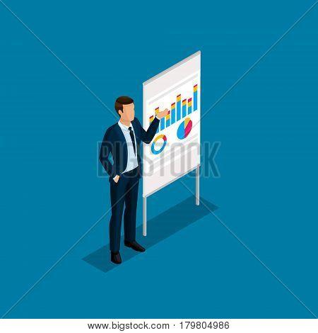 Isometric people 3D businessman. Office staff member leader teacher coachers training information board on a blue background.