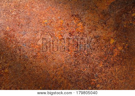 Rusty metal texture, rusty metal background for design with copy space for text or image. Rusty metal is caused by moisture in the air. Dark edged.