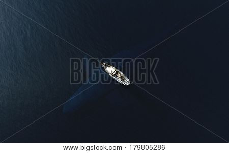 Fish boat floats near big whale in blue ocean. Danger risk and contrasts concept. 3D Illustration