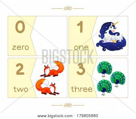 Puzzle cards set. Count numbers 0-10. Addition series English ABC Amusing Animals. part 1/3